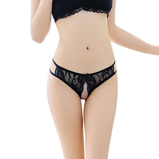 04ee3a71fb9 XILALU Women Sexy Lingerie Lace Open Crotch Solid Panties Thong Briefs  Bragas Underwear (Black)
