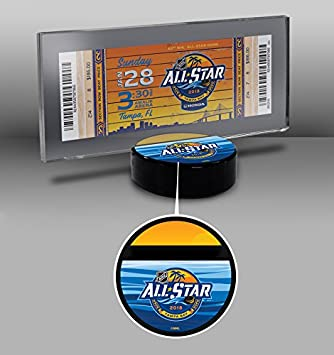 amazon com 2018 nhl all star game hockey puck ticket display stand