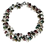 White, Green and Purple Cultured Pearl Two Strand Necklace with A Silver Clasp