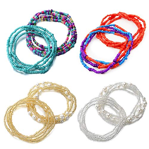 OFGOT7 8 Piece Summer Jewelry Waist Beads Set,Body Chains for Women,Colorful Waist Chain,Belly Chain,African Waist Bead,Beaded Belly Chain, Bikini Jewelry for Woman Girl