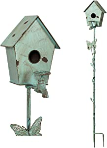 MOCOME Bird House Stake with Pole for Outside, Reclaimed Cast Iron Faucet with Butterfly Distressed Country Garden Stake Decor, Eco-Friendly Metal Outdoor Birdhouse with Stand(52