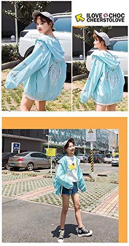 Chic Stampato Sciolto Blau Eleganti Hipster Autunno Cute Outerwear Cerniera Giacca Cappotto Casual Fashion Manica Giubbino Donna Lunga Con Cappuccio Pattern Primaverile xRtF6pqv