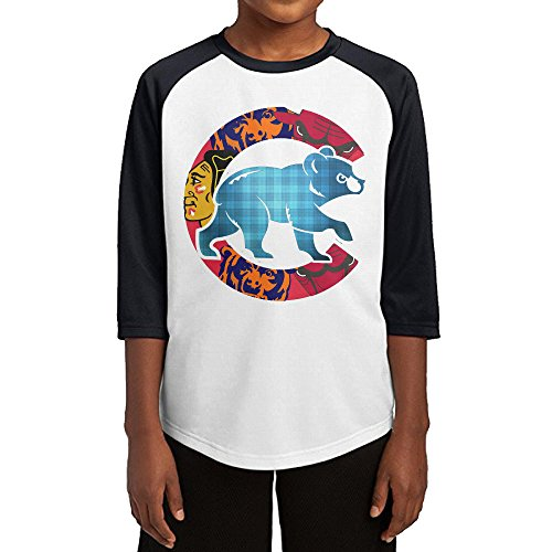 [Hotboy19 Youth Boys Chicago Sport Baseball Logo Mixed Raglan Baseball T Shirt Black Size L] (Cubs Fan Costume)