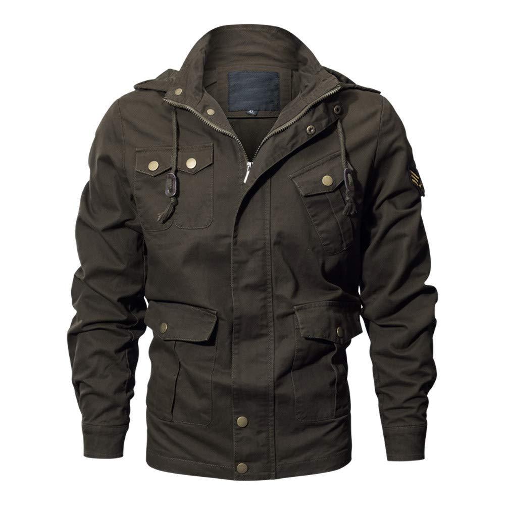 OPTIMIS Men's Casual Cotton Military Jacket Stand Collar Lightweight Slim Bomber Jacket Windbreaker Green by OPTIMIS