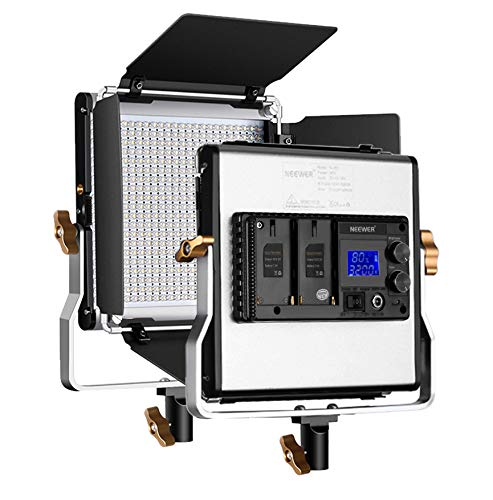 (Neewer Upgraded 480 LED Panel, Dimmable Bi-Color LED Video Light with LCD Screen for Product Photography, Studio Video Shooting, Durable Metal with U Bracket and Barndoor, 3200-5600K, CRI 96+)