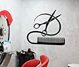 Vinyl Decal Barber Tools Wall Sticker Hairstyle Hair Stylist Hair Salon Beauty Decor (ig2387) (M 22.5 in X 26 in, Black)