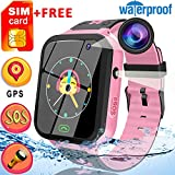 [Free SIM Card]Upgrade Kids Smart Watch Phone Waterproof 1.44' Touch Screen GPS Tracker Wristwatch with Anti-Lost SOS Voice Chat Flashlight Learning Games Back to School Gift for 4-12 Years Boys Girls