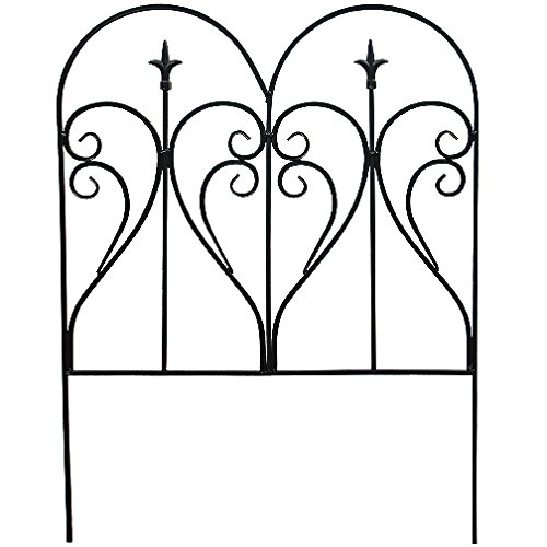 (Garden Edging - Black Galvanized Steel, Scroll and Finial Fence - 2ft x 21.5in)