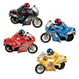 Pull Back Motorcycles Toys - 4 Piece set - 5.5 Inches Racer Vehicle - for Kids In Assorted Colors - Great Party Favor, Prize and Gift - By Kidsco