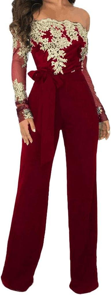 RISTHY Monos De Vestir Mujer Fiesta Fuera del Hombro Manga Larga Alto Cintura Elástico Vintage Atada con Pierna Ancha Otoño Invierno Encaje Monos Largos Cóctel Monos de Fiesta Pantalones