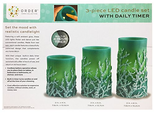 Order Home Collections 3 Flameless LED Pillar Candles Set with Timer in Turquoise, Blue Aqua Teal & Ocean Coral, Limited Edition