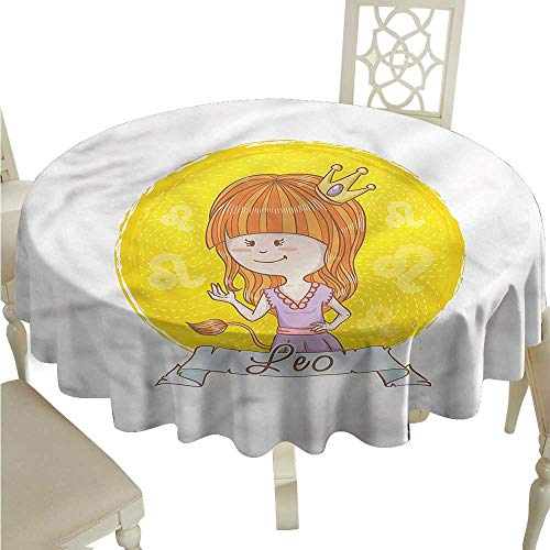- crabee Christmas Tablecloth Zodiac Leo,Girl with Lion Tail Leo,Round Tablecloth