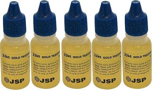 5 Bottles 22K Gold Metal Test Acid Karat Testing Liquid Solution Jewelry Tester Christmas Hannukah Xmas Present Black Friday Cyber Monday Gift