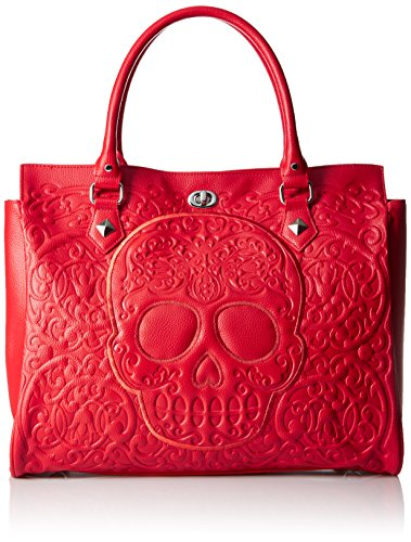 loungefly-lattice-skull-tote-red