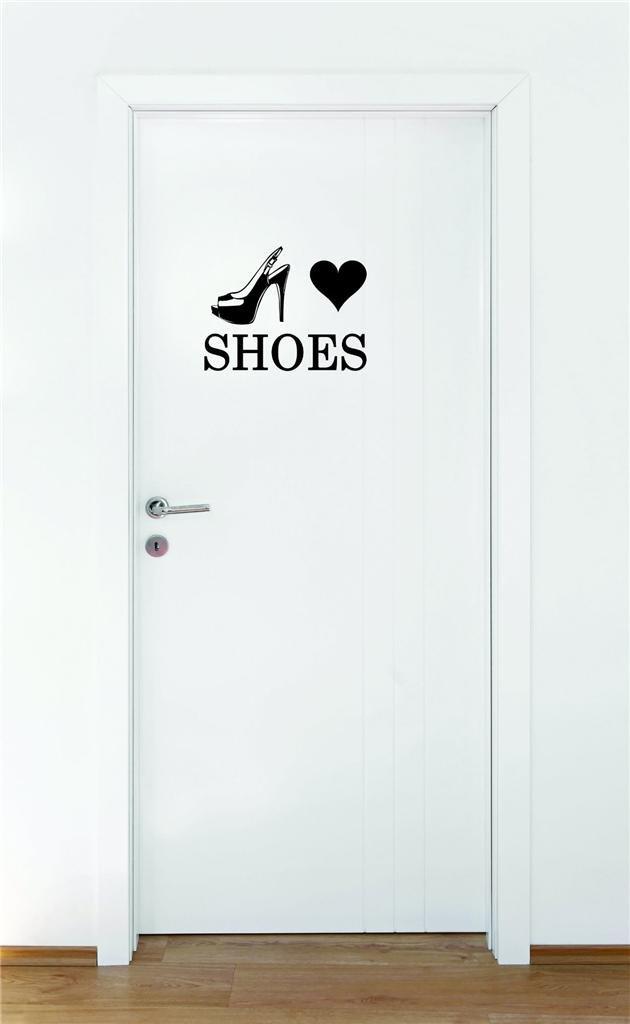 Black 18 x 18 Design with Vinyl Moti 1470 3 Heart Shoes Teen Girls Fashion Wardrobe Bedroom Closet Quote Peel /& Stick Wall Sticker Decal