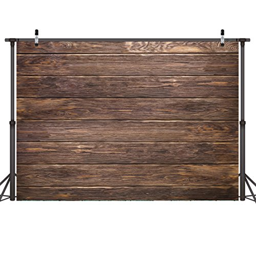 (LYWYGG 7x5ft Thin Vinyl Brown Wood Backdrop Photographers Retro Wood Wall Background Cloth Seamless CP-19)