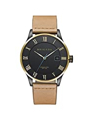 Mans Leather Strap Quartz Watch Stainless Steel Case and Japan Movement