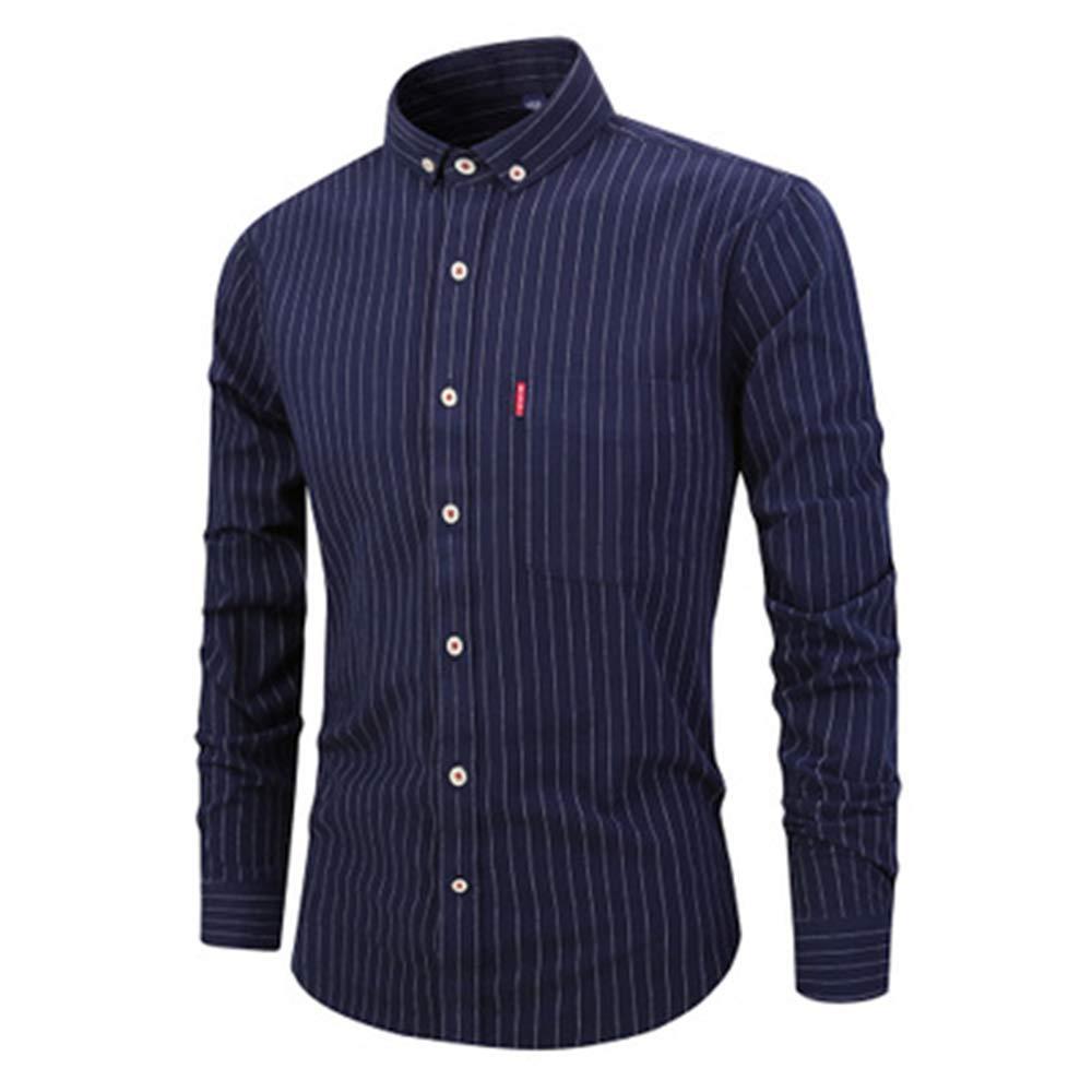 Mens Casual Long Sleeve Shirt Lapel Slim Shirt Father Day