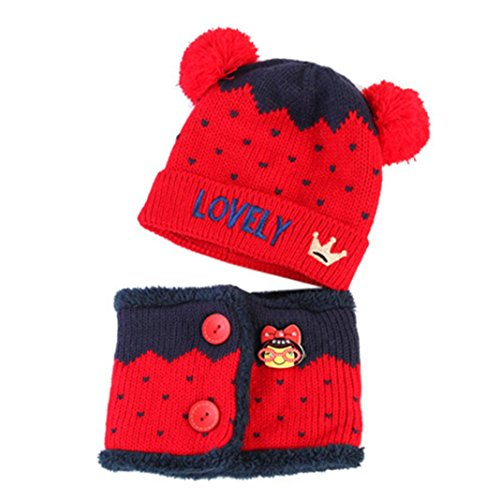 Captain Hook Costume Pattern (Allywit Baby Boys Girls Kids Letter Crown Hat+Scarf 2Pcs Child Knitting Warm Hats Cap (Red))