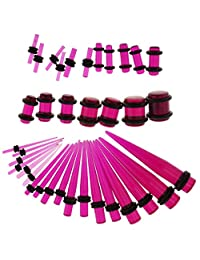 Prettyia 36 Pieces/Set Ear Gauges Stretching Kit Acrylic 14G-00G Expander Tapper Plugs Body Jewelry