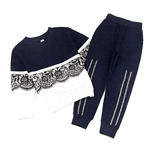 Navy Blue Tracksuit (Toddler Girls Kids Floral Lace Sweatshirt+Pants Long Sleeve Outfit Tracksuit Set (Navy Blue, 4T-5T))