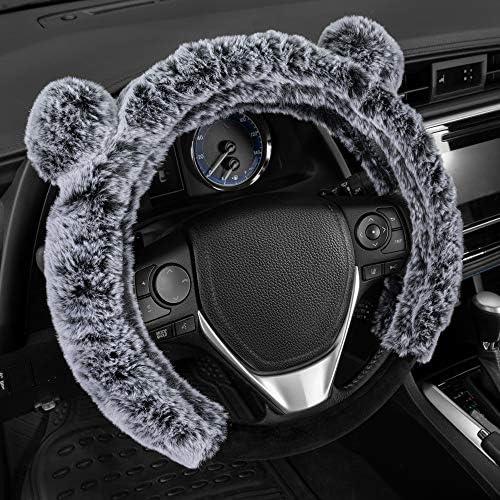 BDK Bear Fur Plush Steering Wheel Cover - Cute Faux Wool Protector for Women Girls Universal Size 14.5 15 15.5 Inch (Gray -Ears) (SW-2421-GR)