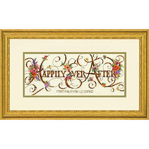 Dimensions 'Ever After' Counted Cross Stitch Kit Personalized Wedding Gift, 18 Count Ivory Aida Cloth, 12'' x 5'' ()