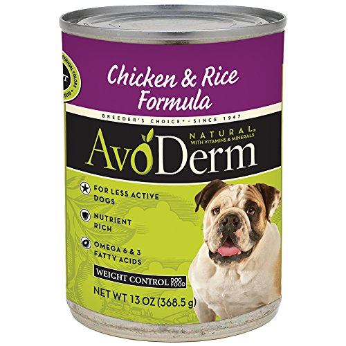 AvoDerm Natural Weight Control Brown Rice & Chicken Meal Formula Canned Wet Dog Food, 13-Ounce Cans, Case of (Control Formula Canned Food)