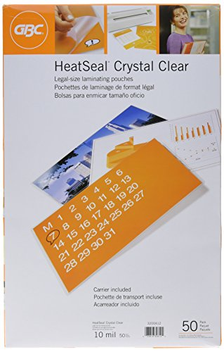GBC Laminating Sheets, Thermal Laminating Pouches Legal Size, 10mil, HeatSeal Crystal Clear, 50 Pack (3200412) ()