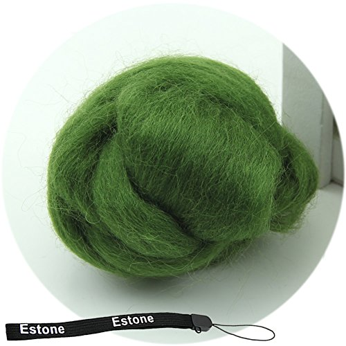 Tairacy Wool Spinning Fiber Top Roving for Needle Felting Craft Materials, 43 Optional Color (Army Green)