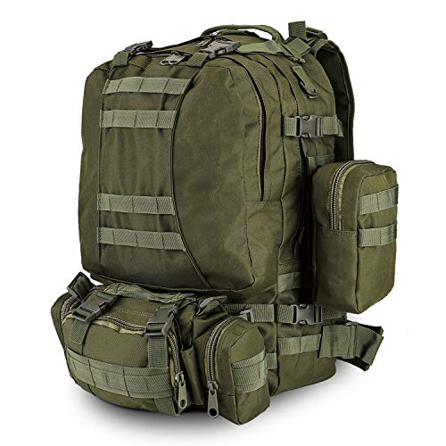 Flexzion 3-in-1 Tactical Backpack (OD Green) Large Army Assault Pack w/Detachable Shoulder Messenger Bag 2 Side Packs MOLLE Gear Attachment System, Bug-Out Bag Daypack Rucksack for Outdoor Hiking