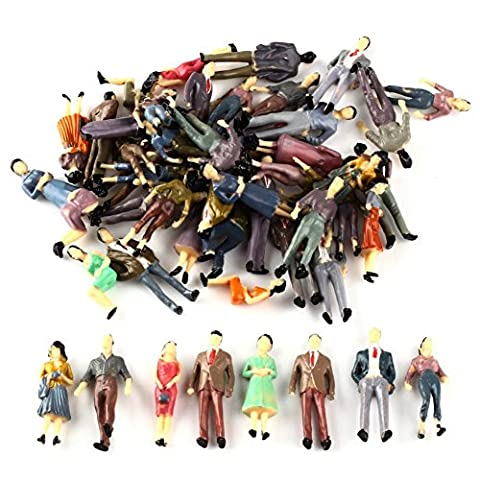 100Pcs 1:50 Scale O Gauge Hand Painted Layout Model Train People Figure by SoleRot - Hand Painted Train Toy