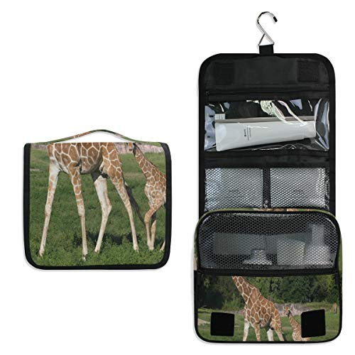 Hanging Toiletry Bag Welcomes Two Baby Giraffes Large Cosmetic Makeup Travel Organizer for Men & Women with Sturdy Hook