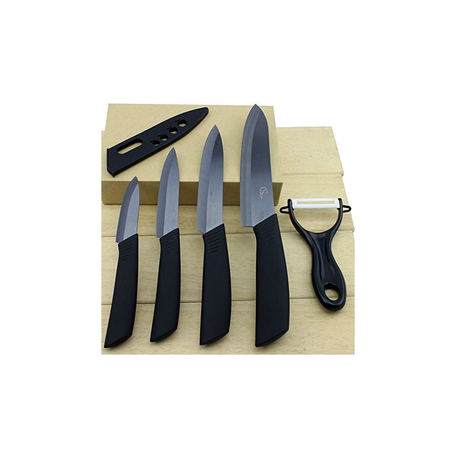 ShuangChuang Ceramic Knife Set Kitchen Cutlery Chef Knife Set With Sheaths(4 knife blades 4 sheaths and 1 peeler)