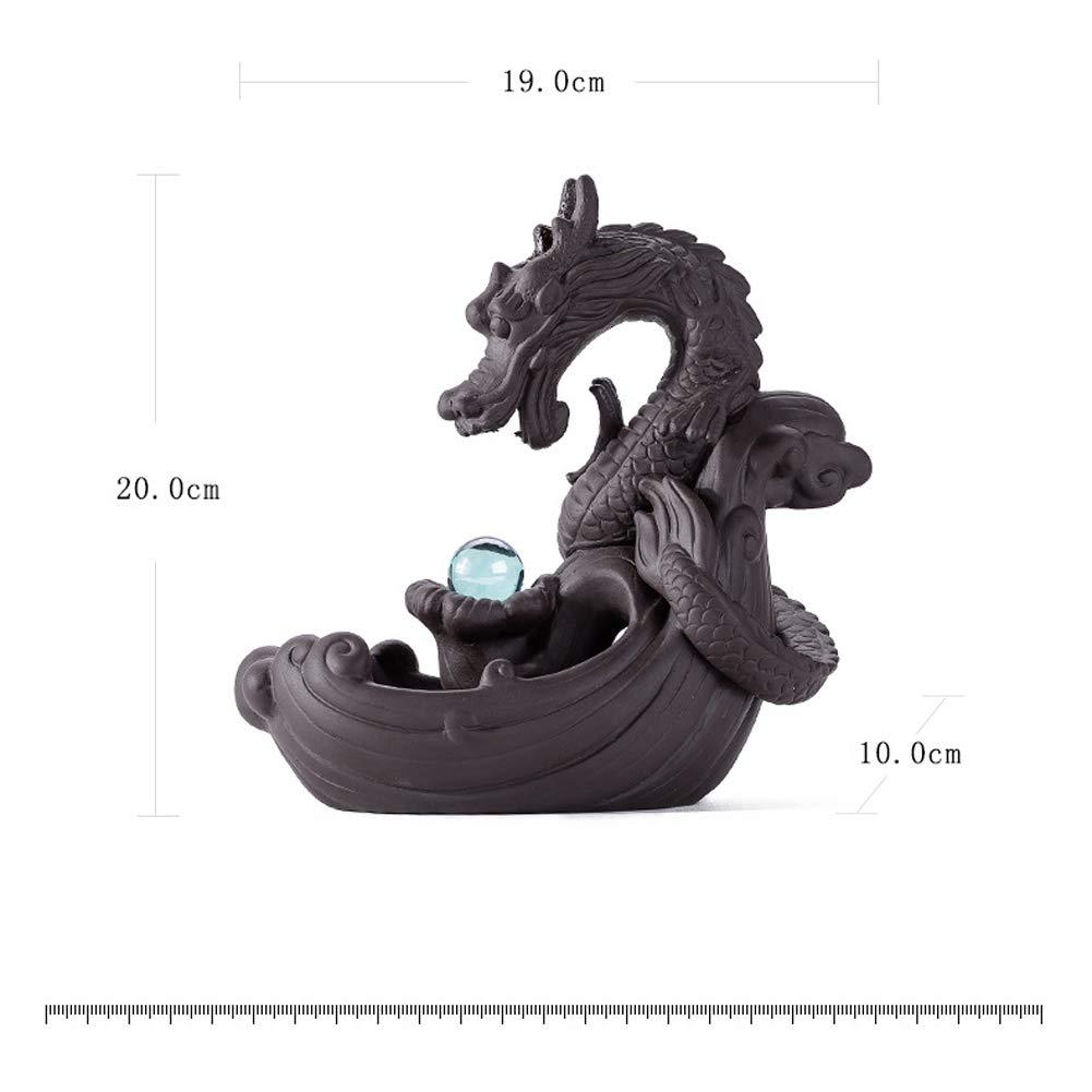 mit Kristallkugel Keramik Drachen-Lotus-Teich Soddyenergy R/äucherst/äbchenhalter
