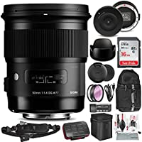 Sigma 50mm F1.4 DG HSM Art Lens for Canon EF with Sigma USB Dock,16GB Card, and Deluxe Accessory Bundle
