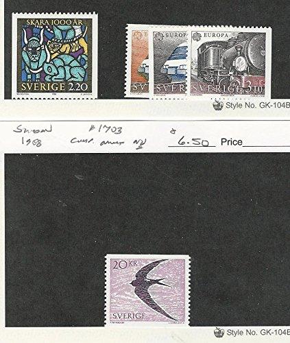 (Sweden, Postage Stamp, 1691, 1700-2, 1703 Mint NH, 1988 Train, Bird)