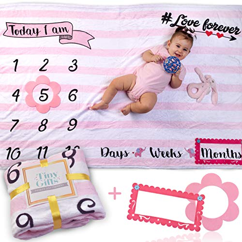 """Baby Monthly Milestone Blanket by Tiny Gifts – Large (60x40"""") Wrinkle-Free Growth Photo Backdrop 