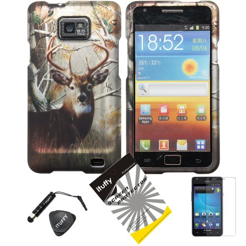 4-items-Combo-Stylus-Pen-Screen-Protector-Film-Case-Opener-Wildlife-Tree-Deer-Outdoor-Camouflage-Design-Rubberized-Snap-on-Hard-Shell-Cover-Faceplate-Skin-Phone-Case-for-Samsung-Galaxy-S2-SII-II-2-SGH