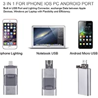 Nwell Apple Cell Phone USB Flash Drive 32GB 64GB i-Flash U-Disk Memory Stick for Computer, iPhone & iPad (Lightning Connector) and Android Cell Phone Silver (64GB)