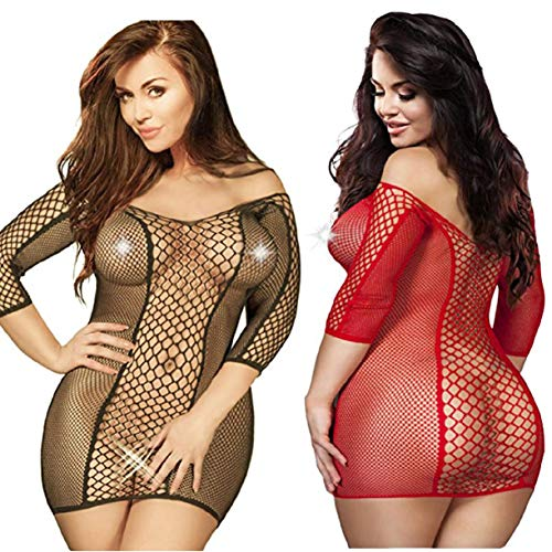 - LOVELYBOBO 2 Pack Plus Size Women's Seamless Fishnet Chemise Sexy Lingerie Mesh Hole Full Length Sleeves Babydoll (Black+red)
