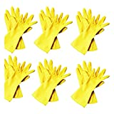 Minel Heavy Duty Disposable Yellow Rubber Latex Kitchen & Household Cleaning Gloves, Powder-Free, 6 Pairs Size Medium