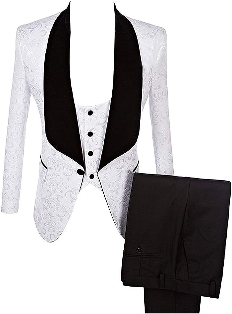 HBDesign Mens 3 2021new shipping free shipping Piece 1 Button Pattern National uniform free shipping S White Shawl Black Lapel