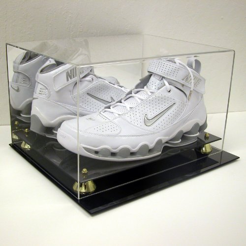 DELUXE BASKETBALL DOUBLE SHOE DISPLAY CASE HOLDER to SIZE 15 w/ UV Protection (Football Cleat Display Case)