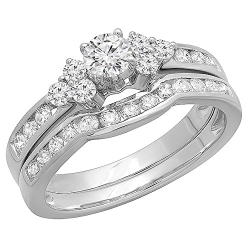1.10 Carat (ctw) 14K White Gold Round White Diamond Engagement Bridal Ring Set 1 CT (Size 10)