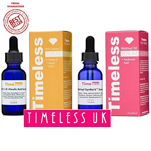 Timeless Skin Care 20% Vitamin C+E Ferulic Acid & Matrixyl Synthe'6 Set - 1 of Each 30ml / 1oz size - From Timeless UK© the Primary Authorised distributor of Timeless Skin Care Range in UK & Europe! Fresh Stock Guaranteed! CEFMAT6