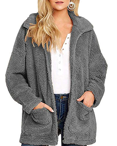Yanekop Womens Coat Casual Lapel Fleece Fuzzy Sherpa Warm Winter Oversized Outwear Jackets(Dark Grey,XL)
