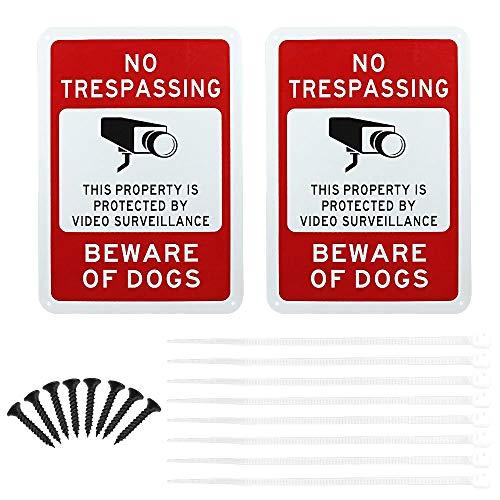GOLRISEN Video Surveillance Sign 2 Pcs No Trespassing Security Alert Metal Sign Warning 24 Hour Video Surveillance 25 x 35CM Aluminum for Indoor or Outdoor Use