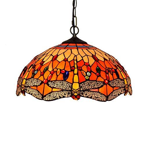 Tiffany Stijl Plafond Armatuur Lamp Semi-Inbouw Hanglamp, Gebrandschilderd Glas Libelle Schaduw Kroonluchter Voor…