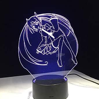KangYD Lámpara 3D de belleza de dibujos animados de anime, Luz de ...